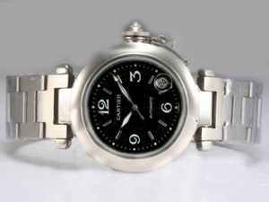 Cool Cartier Pasha Automatic med sort urskive AAA Ure [R7E7]