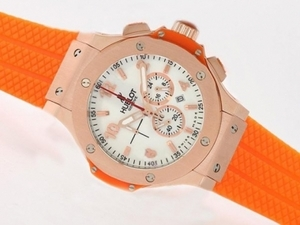 Cool Hublot Big Bang Working Chrono With Rose Gold Case /Orange Rubber Strap AAA Watches [F7B8]