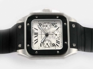 Cool Cartier Santos 100 Chronograph Asia Valjoux 7750 Movement AAA Watches [F6H1]
