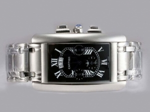 Cool Cartier Tank Americaine Working Chronograph with Black Dial AAA Watches [T2H6]