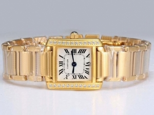 Gorgeous Cartier Tank Full Gold with Diamond Bezel-White Dial Lady Model AAA Watches [P8T3]
