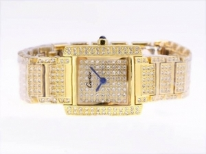Modern Cartier Tank Full Gold with Diamond Dial and Bezel AAA Watches [G5S7]