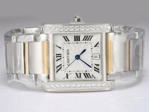 Modern Cartier Tank Two Tone with Diamond Bezel-White Dial Lady Model AAA Watches [F7G1]