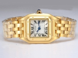 Popular Cartier Santos Full Gold with White Dial Lady Size AAA Watches [W3E7]