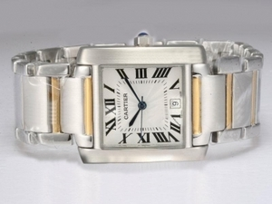 Popular Cartier Tank Two Tone with White Dial AAA Watches [L5A1]