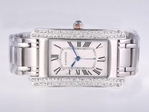Quintessential Cartier Tank Americaine Diamond Bezel with White Dial-Man Size AAA Watches [D9H4]