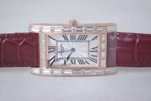 Vintage Cartier Tank Quartz Rose Gold Case with Diamond and White Dial AAA Watches [V7H4]