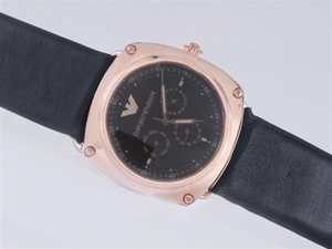 Great Emporio Armani Chronograph Rose Gold Case with Black Dial AAA Watches [A2O4]