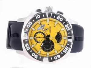 Fancy Ferrari Working Chronograph with Yellow Dial-Rubber Strap AAA Watches [U7A8]