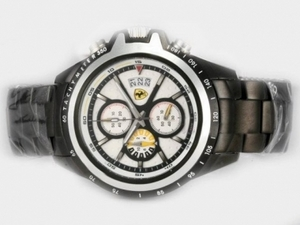 Great Ferrari Working Chronograph Full PVD with White Dial-New Version AAA Watches [S3Q5]