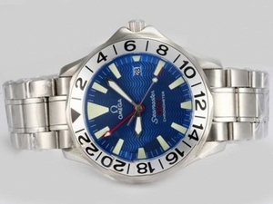 Perfect Omega Seamaster Working GMT Automatic with Blue Dial AAA Watches [I9N7]