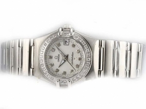 Popular Omega Constellation Diamond Bezel and Marking with White Dial AAA Watches [I6F7]