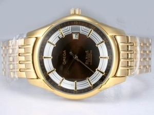 Vintage Omega Hour Vision See Thru Case Automatic Full Gold with Brown Dial AAA Watches [V1K8]