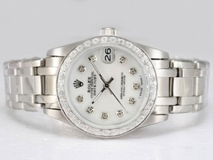 Cool Rolex Masterpiece Automatic Diamond Bezel and Marking with White Dial AAA Watches [U3J5]