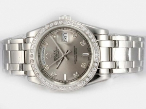 Fancy Rolex Masterpiece Automatic Diamond Marking and Bezel with Grey Dial AAA Watches [O4A7]