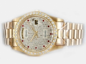 Gorgeous Rolex Day-Date Automatic Full Gold Diamond Bezel and Marking AAA Watches [H6A7]