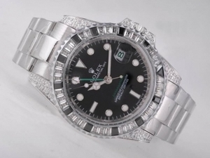 Popular Rolex GMT-Master II Automatic CZ Diamond Bezel with Black Dial AAA Watches [W4I1]