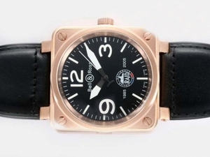 Cool Bell & Ross Raid Automatic Rose Gold Case with Black Dial-Leathe AAA Watches [S5G3]