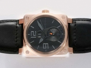Cool Bell & Ross BR 01 Two Time Zone Automatic Rose Gold Case AAA Watches [B4U7]