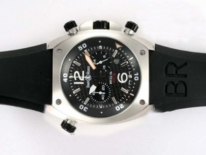 Cool Bell & Ross BR 02-94 Working Chronograph with Black Carbon Fibre Style AAA Watches [C3F7]