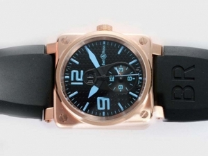 Cool Bell & Ross BR01 Two Time Zone Automatic Rose Gold Case AAA Watches [E2K4]