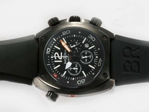 Fancy Bell & Ross BR 02-94 Working Chronograph PVD Case with Black Dial AAA Watches [U2T9]