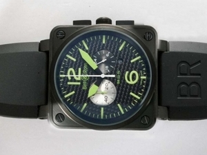Fancy Bell & Ross BR 03-94 Working Chronograph PVD Case with Black Carbon Fibre Style AAA Watches [C4F7]