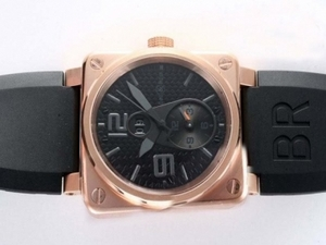 Fancy Bell & Ross BR01 Two Time Zone Automatic Rose Gold Case with Black Dial AAA Watches [B3R7]