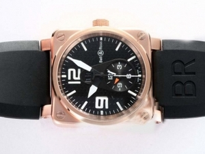 Fancy Bell & Ross BR01 Two Time Zone Automatic Rose Gold Case AAA Watches [R6N4]
