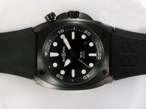 Fancy Bell & Ross BR02 Instrument Diver PVD Casing with Black Dial-Rubbble Strap AAA Watches [U6Q3]