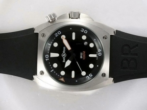 Fancy Bell & Ross BR02 Instrument Diver Black Dial with Rubber Strap AAA Watches [L5L6]