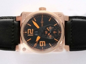 Gorgeous Bell & Ross BR 01 Two Time Zone Automatic Rose Gold Case AAA Watches [N3X5]