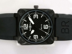 Great Bell & Ross BR 01-92 Automatic PVD Case with Black Carbon Fibre Style AAA Watches [E1X7]