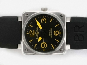 Great Bell & Ross BR 01-92 Automatic with Black Dial-Yellow Marking 46x46mm AAA Watches [V3U9]