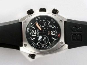 Great Bell & Ross BR 02-94 Working Chronograph with Black Dial and Rubber Strap AAA Watches [U9G5]