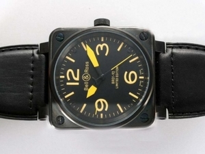 Modern Bell & Ross BR 01-92 Automatic PVD Case with Black Dial-Yellow Marking AAA Watches [D8J1]