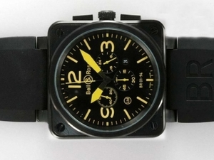 Modern Bell & Ross BR 01-94 Working Chronograph PVD Casing With Yellow Dial AAA Watches [G5R6]