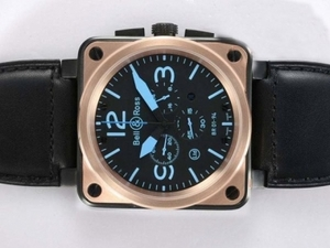 Modern Bell & Ross BR 01-94 Working Chronograph PVD Casing with Gold Bezel AAA Watches [C7V2]