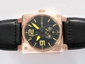 Modern Bell & Ross BR 01 Two Time Zone Automatic Rose Gold Case AAA Watches [K2L1]