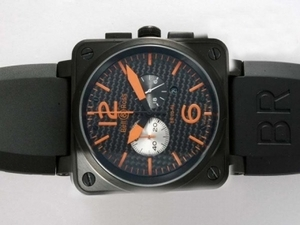 Modern Bell & Ross BR 02-94 Working Chronograph PVD Case with Black Carbon Fibre Style AAA Watches [P1O1]