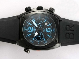 Modern Bell & Ross BR 02-94 Working Chronograph PVD Case with Black Carbon Fibre AAA Watches [K6G1]
