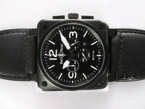 Perfect Bell & Ross BR 01-94 Working Chronograph PVD Casing with Black Dial AAA Watches [S8C4]