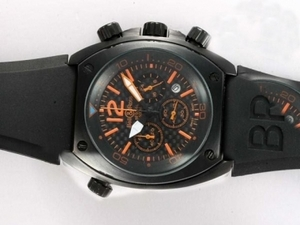 Perfect Bell & Ross BR 02-94 Working Chronograph PVD Case with Black Carbon Fibre Style AAA Watches [E4J3]