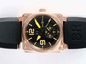 Perfect Bell & Ross BR01 Two Time Zone Automatic Rose Gold Case AAA Watches [H8X7]