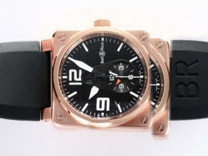 Perfect Bell & Ross BR01 Two Time Zone Automatic Rose Gold Case AAA Watches [P5U1]