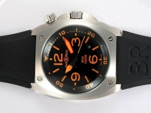 Perfect Bell & Ross BR02 Instrument Diver Black Dial with Orange Marking AAA Watches [G5A1]