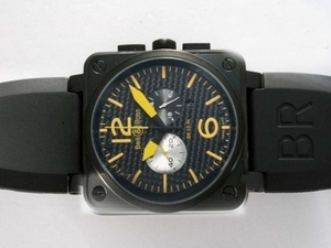 Quintessential Bell & Ross BR 03-94 Working Chronograph PVD Case with Black Carbon Style AAA Watches [M5M8]