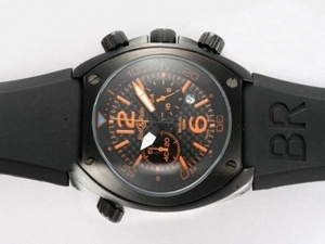 Vintage Bell & Ross BR 02-94 Working Chronograph PVD Case with Black Carbon Fibre Style AAA Watches [S7G1]