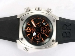 Vintage Bell & Ross BR 02-94 Working Chronograph Orange Marking with Black Dial AAA Watches [T9L1]