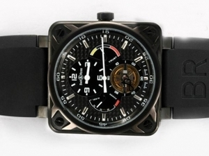 Vintage Bell & Ross Tourbillon Automatic PVD Case with Black Carbon Fibre AAA Watches [U4W1]
